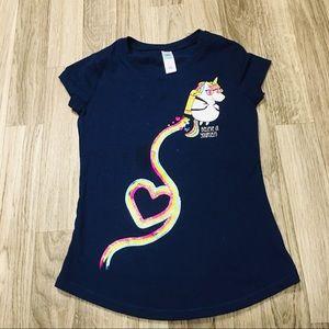 Girls Size Size Rainbow Unicorn Rocket Navy Blue